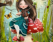 "Fantasy Fairy Tale Girl Playing Violin with Owl ""Uma"" Fine Art 8.5x11 or 8x10 - Digital Collage Painting Art Wonderland"