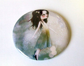 Surrender Pocket Mirror with Organza Bag made from original art print by Jessica Grundy