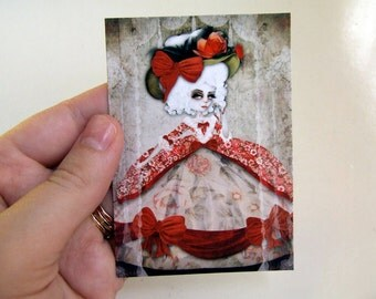 "ACEO/ATC ""Marie Antoinette"" Artists Trading Card Premium Fine Art Mini Print 2.5x3.5 - Let Them Eat Cake -French Queen"