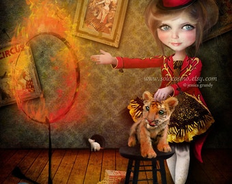 "Fine Art Print ""Ring of Fire"" Large 11x17 or 13x19 Digital Collage  Lowbrow Art Circus Performer Girl Tiger Tamer"