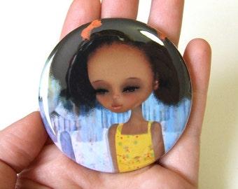 Deja-Vu Pocket Mirror with Organza Bag 2 1/4 inch made from Original Art Print