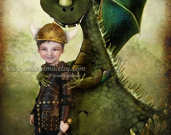 ACEO ATC 'Evan' Cute Little Boy and his Dragon - Artists Trading Card Mini Fine Art Giclee Print - 2.5x3.5""