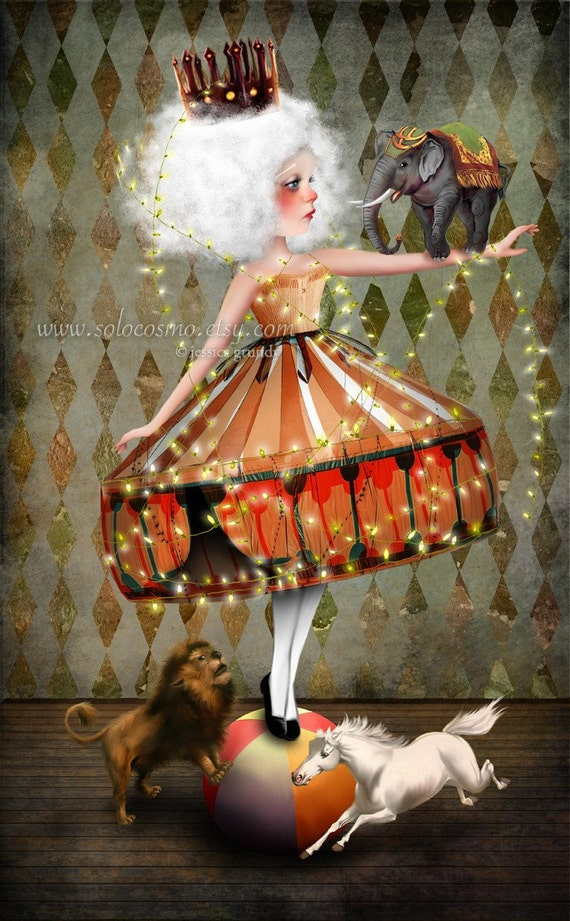 Art Print Carnival Illustration Print Strong Woman Circus ... |Circus Girl Art Print
