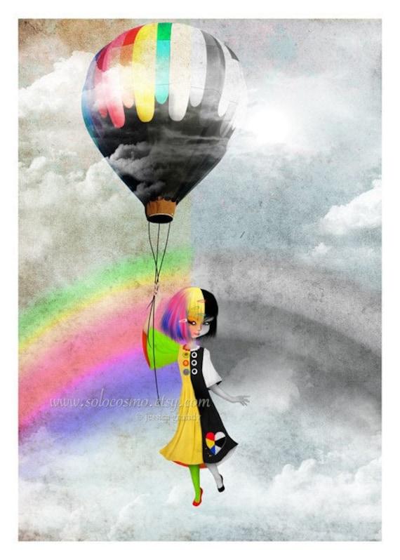 """5x7 Fantasy Art Print Black and White Rainbow Girl """"Causing a Stir"""" Cute Premium Giclee Fine Art Print"""