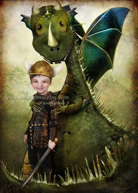 "ACEO ATC 'Evan' Cute Little Boy and his Dragon - Artists Trading Card Mini Fine Art Giclee Print - 2.5x3.5"""