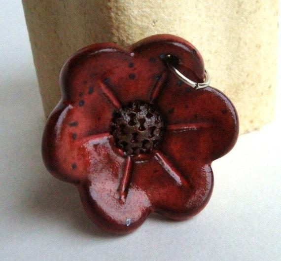 Red Flower Ceramic Pendant, in Paprika Pomegranate glaze, stoneware clay pendant, focal