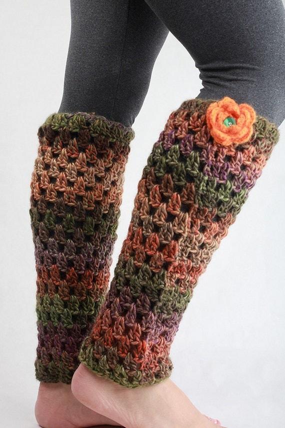 25% off Clearance - Orange Rose Harvest Fall Chunky Wool Leg Warmers Leggings Victorian Spats Sexy Retro Steampunk Legwarmers
