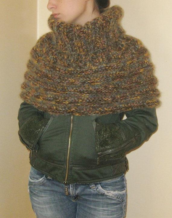 Knitting Pattern Turtleneck Capelet : Items similar to Cozy warm Poncho Capelet Cowl Neckwarmer Shoulderwarmer turt...