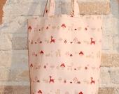 Girls Tween Teen Tote Bag - Kawaii Cute Japanese Print Cotton Canvas - Pink Red Deer Mushrooms -gifts for children girls teens tweens