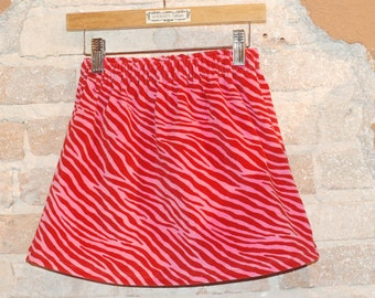 Modern A-line Skirt - Pink Red Zebra Print- velveteen - toddler girls clothing - kids fall winter fashion - ready to ship size 4/4T