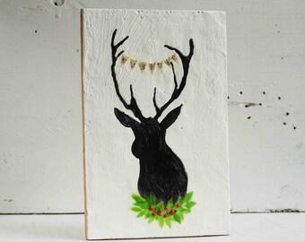 Holiday DEER Original Encaustic Painting Black Silhouette Deer Christmas Snow Stag Green Wreath Red Berries Faux Taxidermy