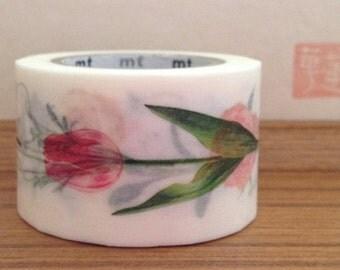 mt ex  japanese washi masking tape - flowers - red