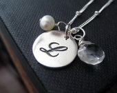 Sterling silver monogram necklace, initial necklace silver, script initial necklace & birthstone