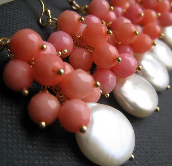 Coin Pearl and pink coral earrings, Salmon pink corals, spring jewelry, freshwater pearls, flower girl gifts