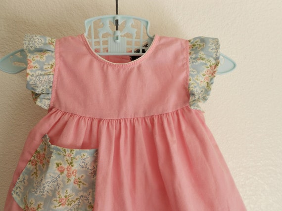 Baby girls Dress Pink with ruffles and pocket  6-9m