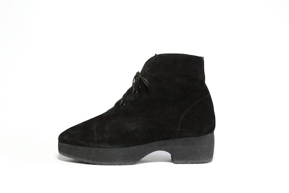 YSL Suede Lace Up Platform Ankle Boots 8.5