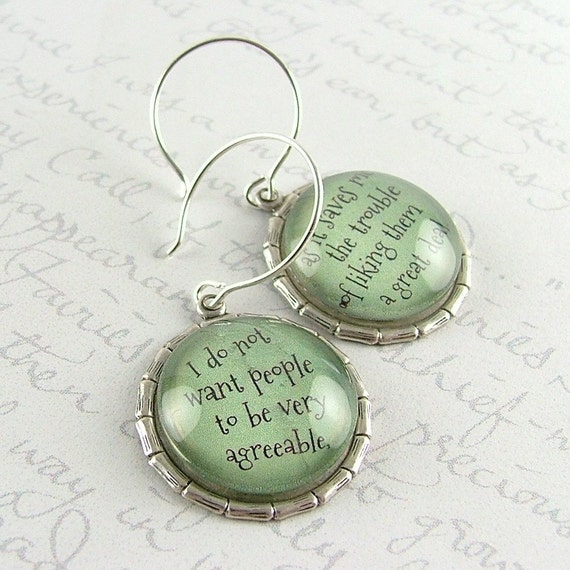 Jane Austen Literary Earrings - Book Lover Gift - Witty Quote