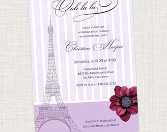 Paris Eiffel Tower Bridal Shower Invitation, Engagement Party, Baby Shower Printable, Digital File