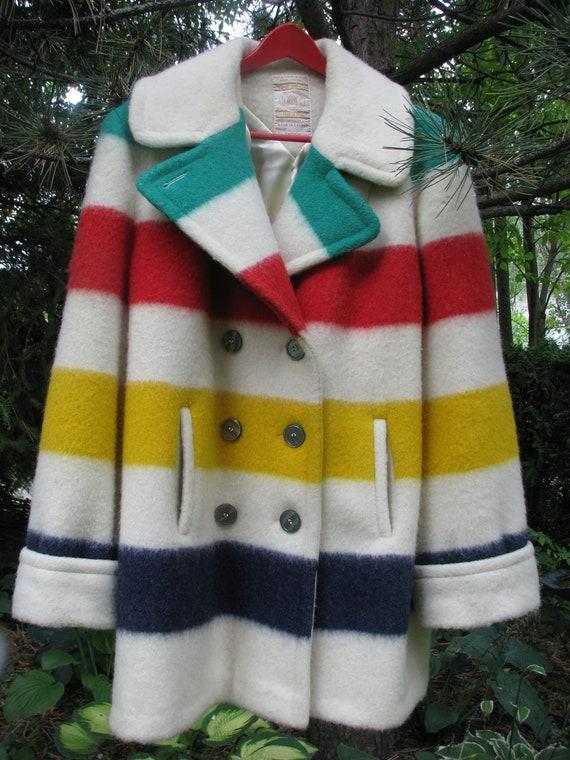 Vintage Hudson S Bay Wool Point Blanket Coat