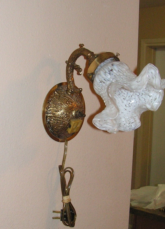 Antique Tulip Art Deco Brass Wall Sconce Light Murano Blown