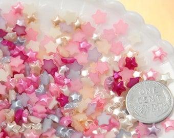 Tiny Flatback Resin Cabochons - 6mm Tiny Pastel Star Pearl Mixed Flatback Resin or Acrylic Cabochons - 100 pc set