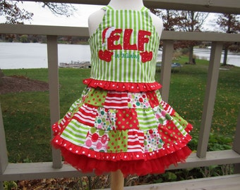 OTT Christmas Custom Boutique Pageant Elf in Training  5 Piece Patchwork Twirl Skirt and Top Outfit