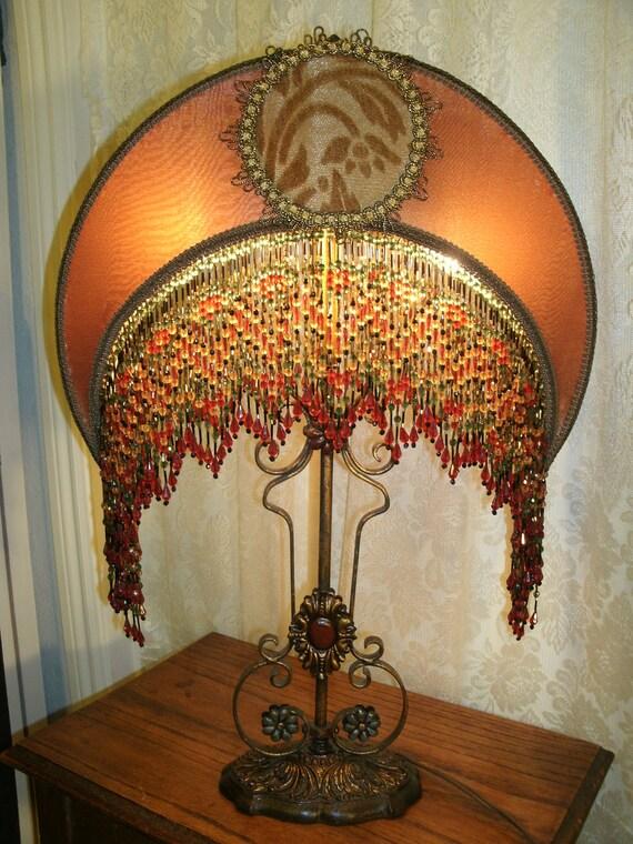 Vintage Lamp Base Has Bronze Gold Crescent Moon Lamp Shade