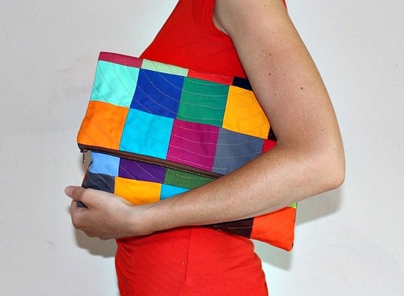 Colorful Patchwork Clutch Purse - A Statement Accessory for Any Outfit