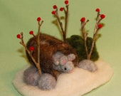 Winter Miniature Mouse in a Log-needle felted scene