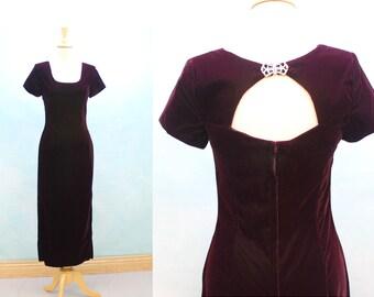 80's Velvet Sheath Long Dress / Gown / Burgundy Velvet / Scott McClintock /  XSmall