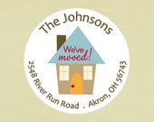 Return address labels, stickers, tags, envelope seals, round--We've Moved