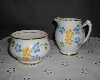 Vintage English Bone China Creamer and Open Sugar Bowl - Free Domestic Shipping