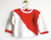 Bicolor White and Red Knitted Unisex Baby Sweater - Geometric Graphic Baby Jumper - Vintage Cute Children Clothing