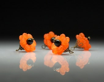 Vintage Style Handmade Wire Wrapped Bead Drops Charms Dangles Orange Lucite Flowers Set of Four O118
