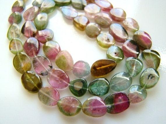 "Green Pink Watermelon Tourmaline Smooth Slice Drop Beads 16 beads 5"" demi strand"