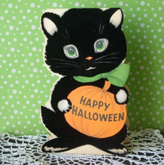 Vintage Flocked Black Cat Halloween Stand Up Greeting Card Norcross
