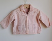 Vintage 1960's Jacket - Pink Corduroy Plaid Pockets (12m)