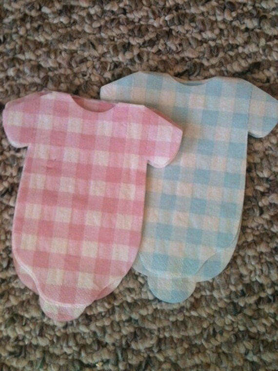 Last set of 15 pink and white gingham baby onesie shower napkins