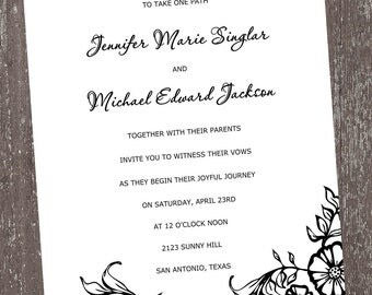 Black and White Floral Invitations For Any Occasion
