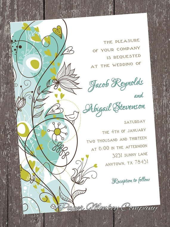 Custom Printed Whimsical Floral Wedding Invitations 1O0 each by