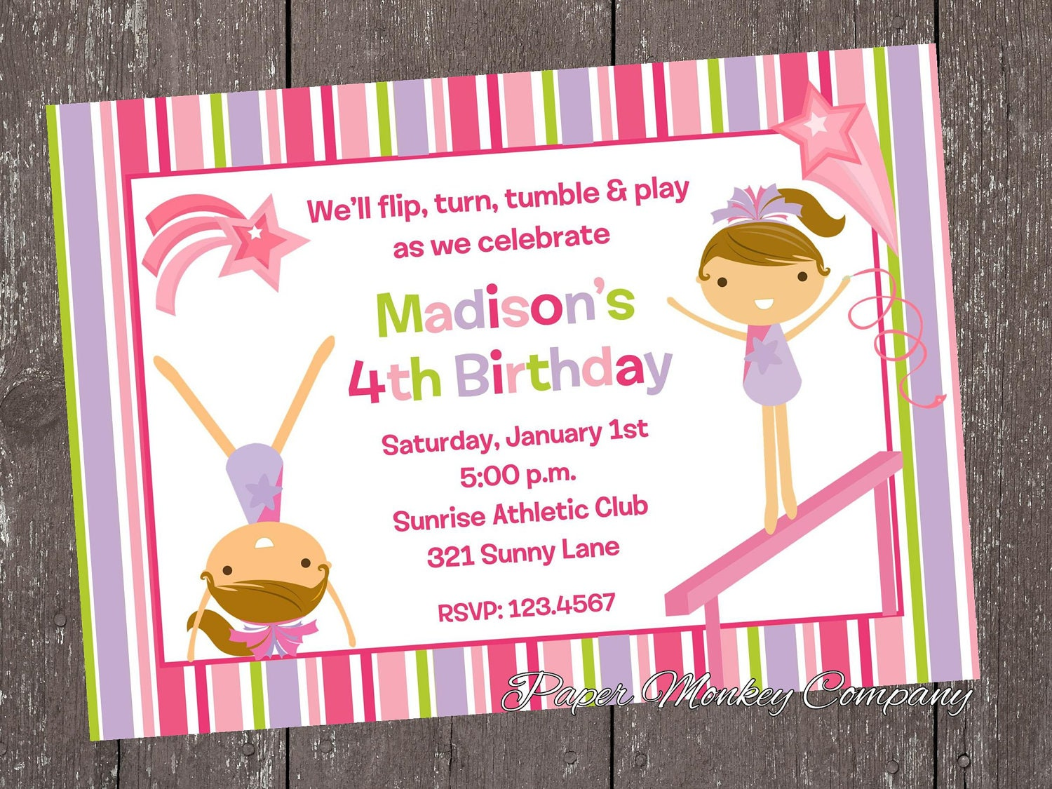 Gymnastics Birthday Invitations – Gymnastic Birthday Invitations