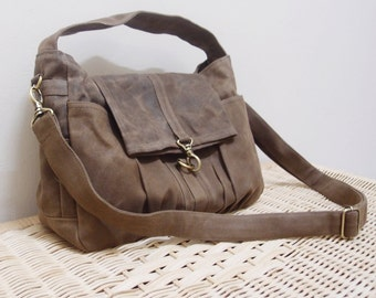 Back To School SALE - 20% OFF Mini Classic in Waxed Canvas Brown / Sling bag / Crossbody Bags / Hobo / Handbags / For Her / Women / Kids
