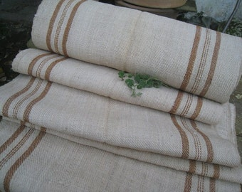 antique handloomed COGNAC BROWN 3.71y twill fabric upholstery lin french linen 20.46 wide