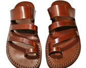 Brown Double-Roman Leather Sandals for Men & Women - Handmade Sandals, Leather Flip Flops, Jesus Sandals, Unisex Sandals, Brown Sandals