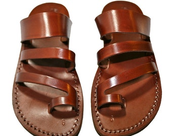 Brown Double-Roman Leather Sandals for Men & Women