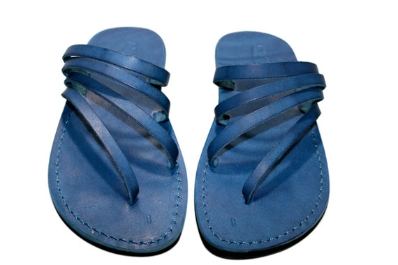 Blue Rainbow Leather Sandals for Men & Women - Handmade Sandals, Leather Flats, Leather Flip Flops, Unisex Sandals, Blue Leather Sandals