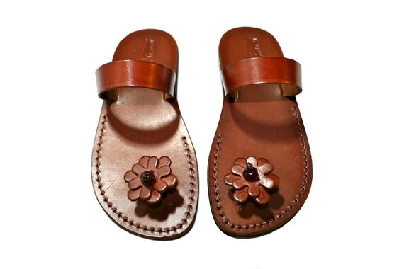 Brown Flower-Pop Leather Sandals for Men & Women - Handmade Unisex Sandals, Flip Flop Sandals, Jesus Sandals, Genuine Leather Sandals