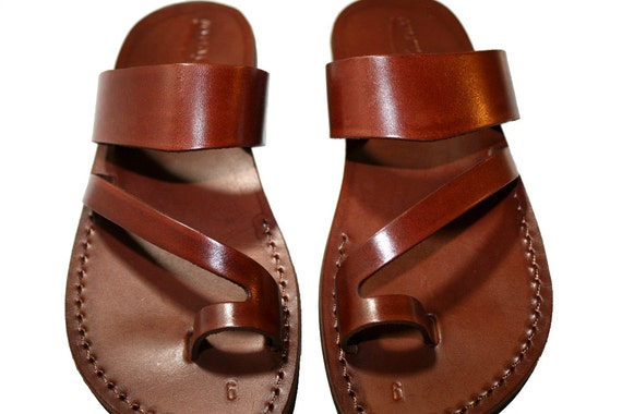 Brown Roman Leather Sandals for Men & Women - Handmade Sandals, Leather Flats, Leather Flip Flops, Unisex Sandals, Brown Leather Sandals