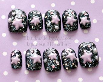 Kawaii nails, Japanese 3D nails, galaxy, stars, black, fairy kei, lolita, gothic, fake nails,  galaxy makeup