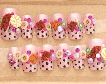 3D nails, kawaii nails, decoden, fake sweets, fairy kei, lolita, decora, harajuku, kyary, chocolate, lollipop, fruits, purple nails